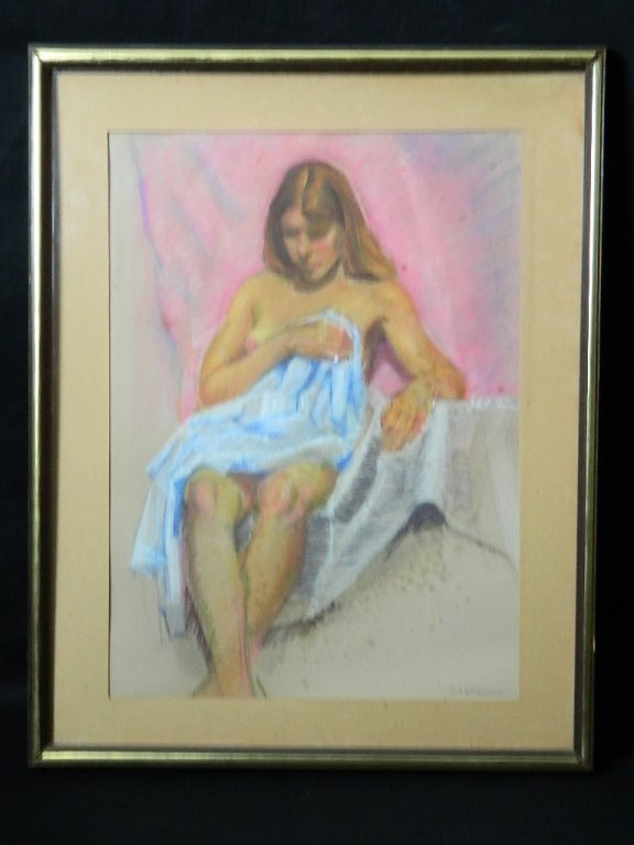 Pastel of Half Nude Woman by Ed Subartowicz