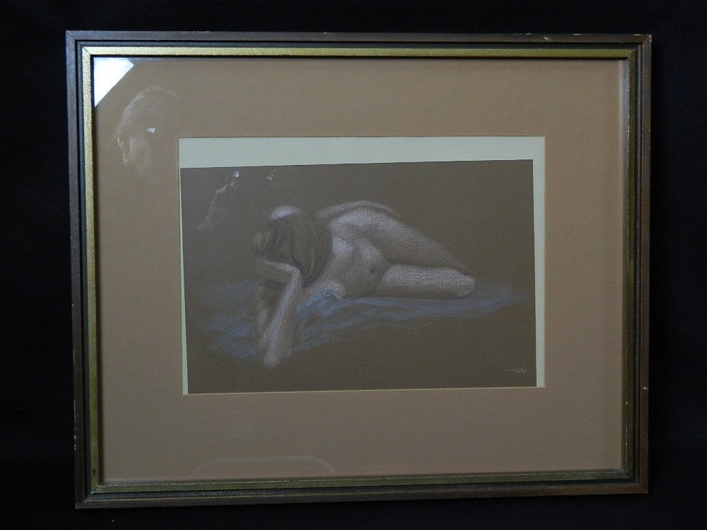 Framed/Matted Nude Pastel Sketch By Taege