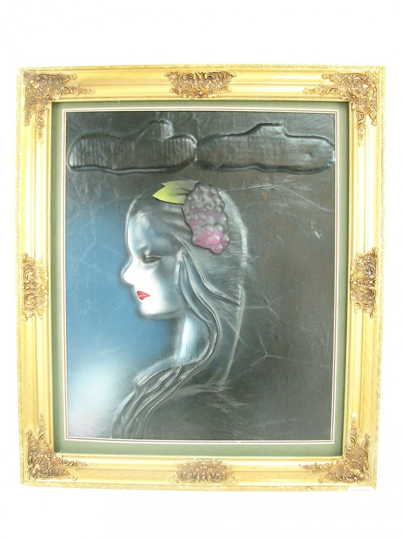 Woman with Grapes & Clouds in her life - Leather Art -