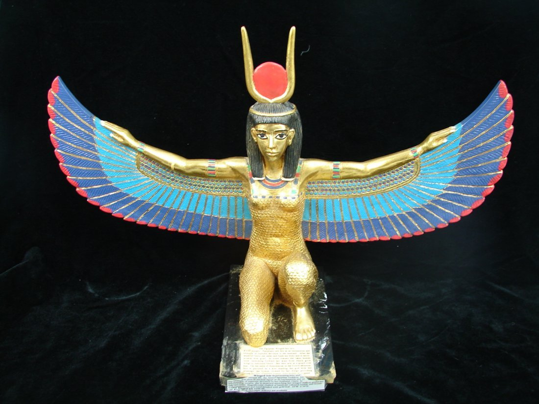 """15"""" Egyptian Winged Isis Gold Gilted Marble"""