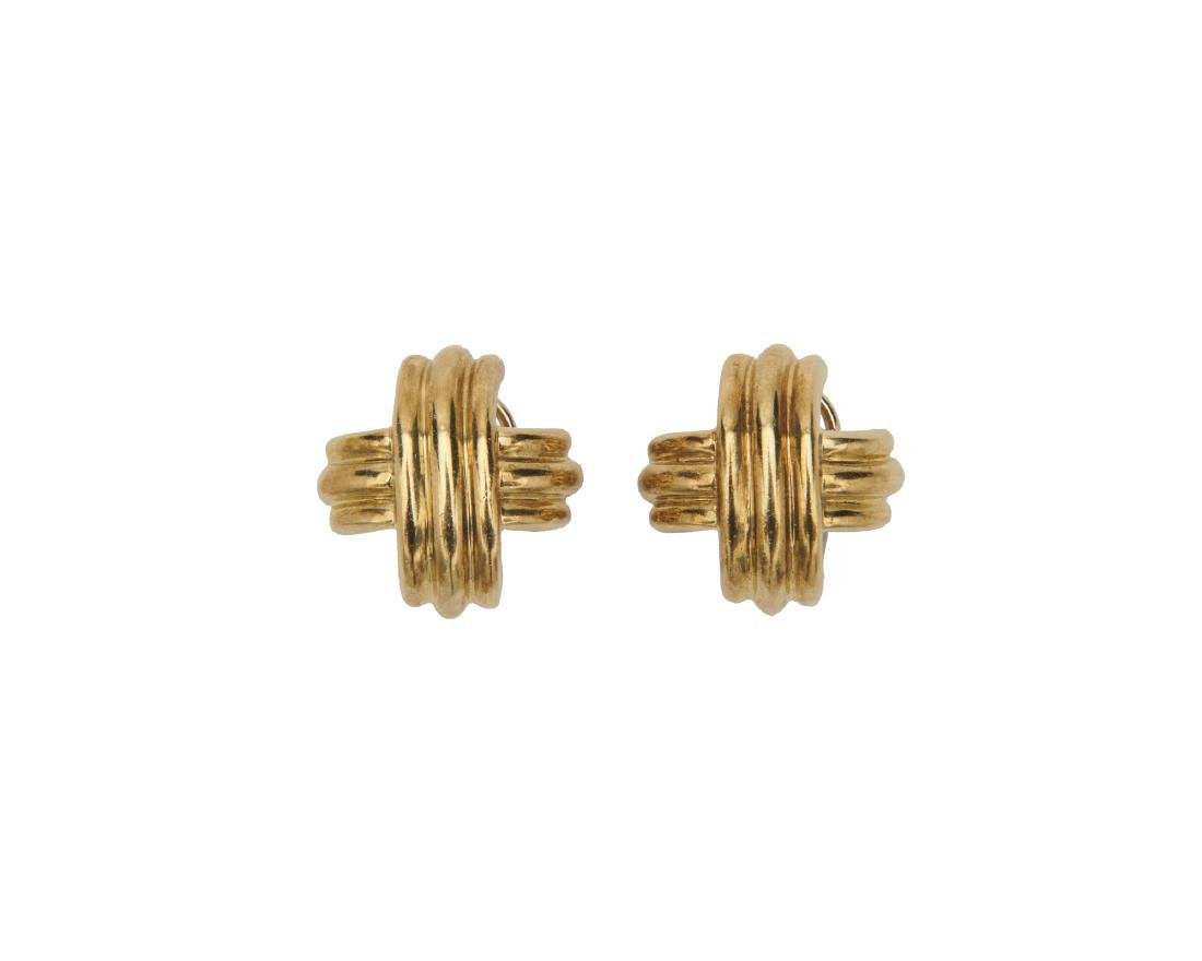 "TIFFANY & CO. 18K Gold ""X Collection"" Earrings"