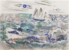 JOHN MARIN, (American, 1870-1953), Boat and Gull, 1945,