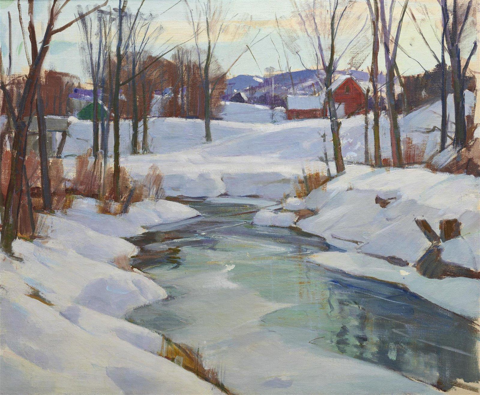 CARL PETERS, (American, 1897-1980), Winter Stream, oil