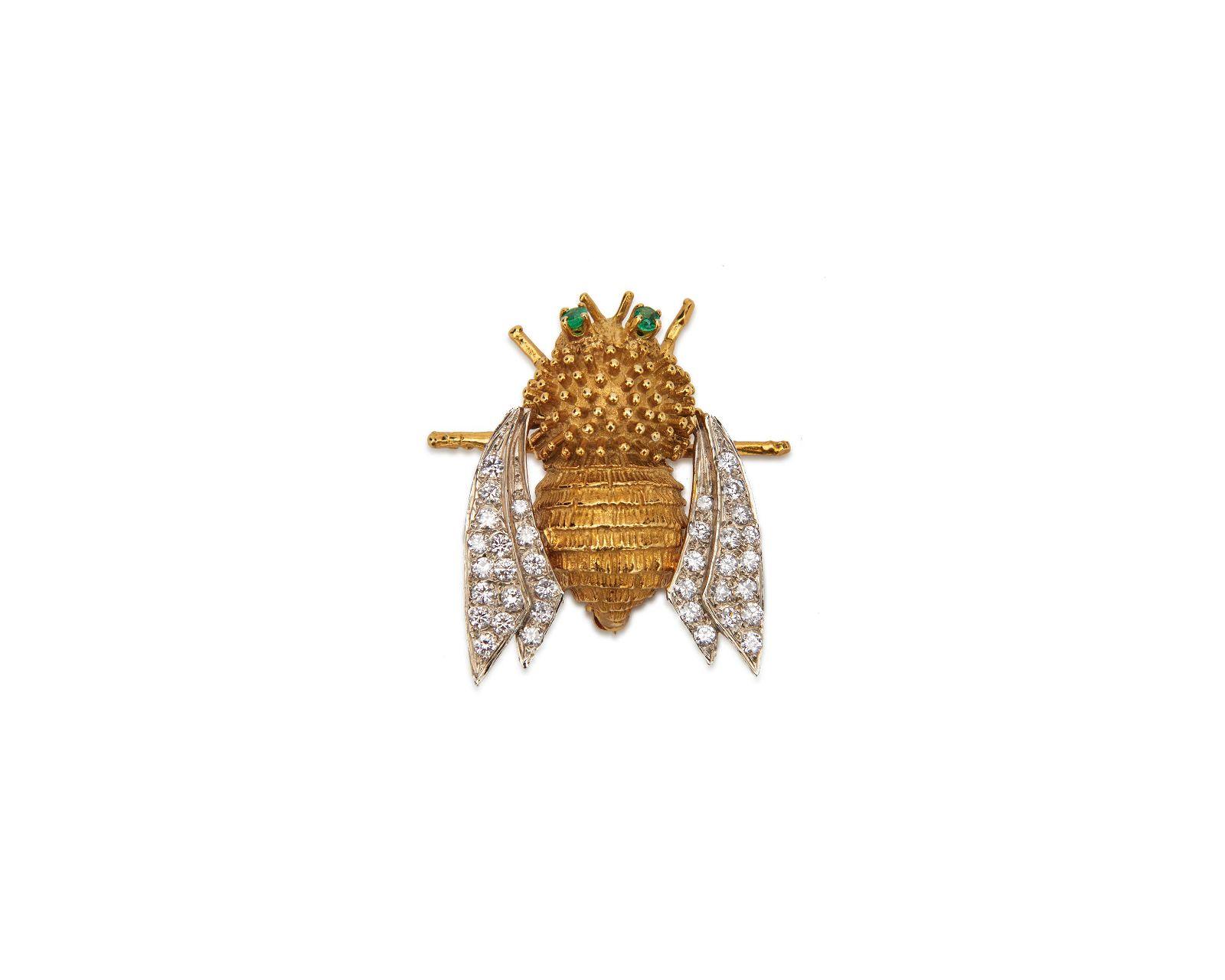 14K Gold, Diamond, and Emerald Bee Brooch