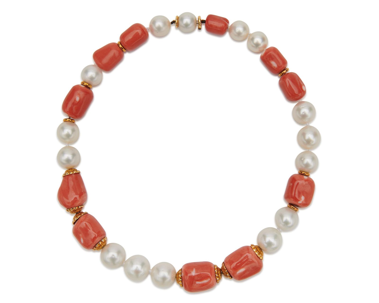 SEAMAN SCHEPPS 18K Gold, Pearl, and Coral Necklace