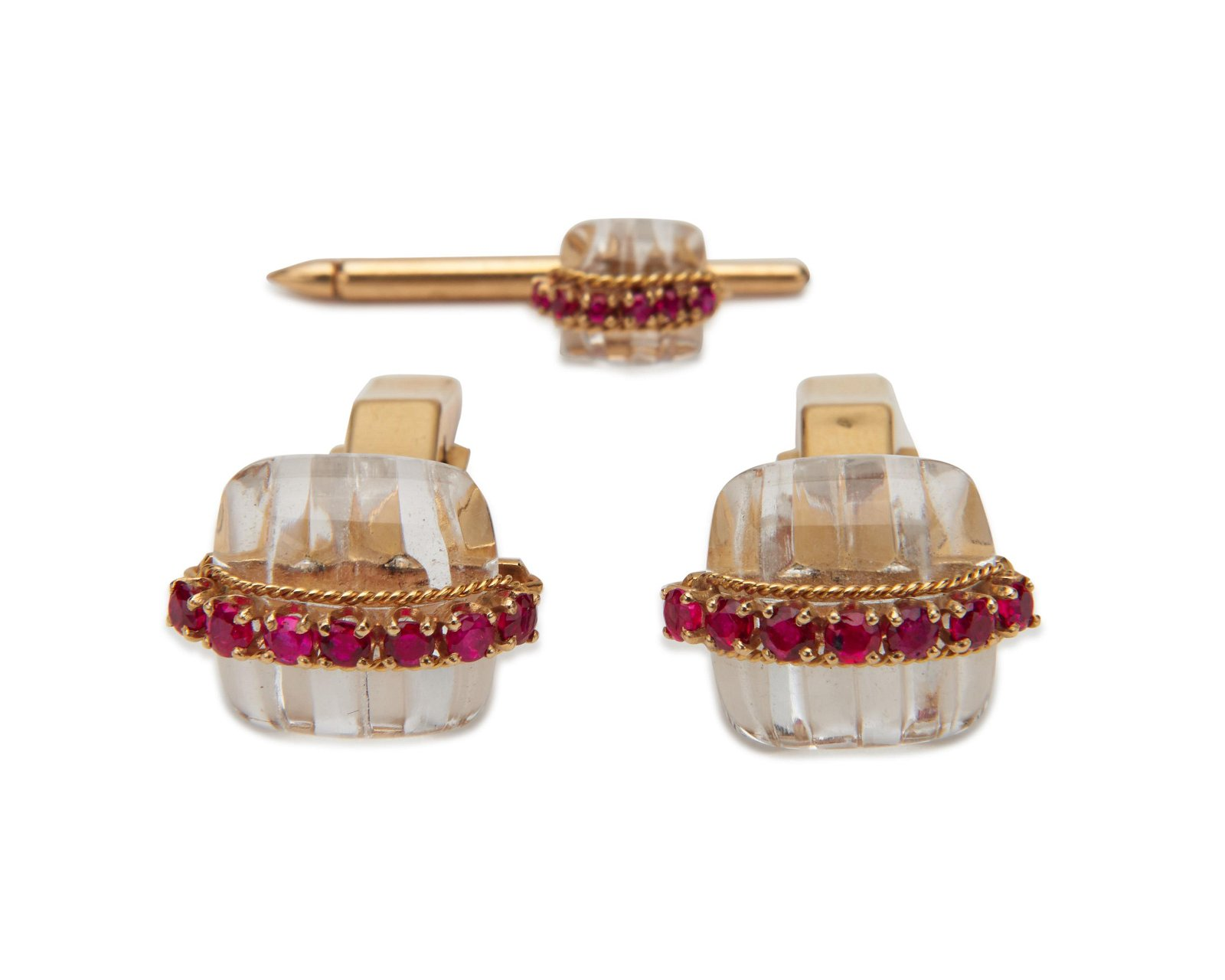 CARTIER 18K Gold, Rock Crystal, and Ruby Cufflinks