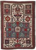 Caucasian Prayer Rug, ca. 1900; 4 ft. 10 in. x 3 ft. 7