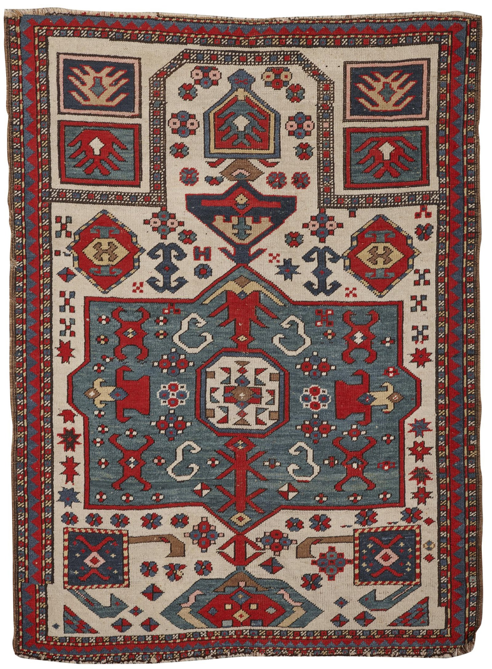 Caucasian Prayer Rug, ca. 1900; 4 ft. 10 in. x 3 ft. 7