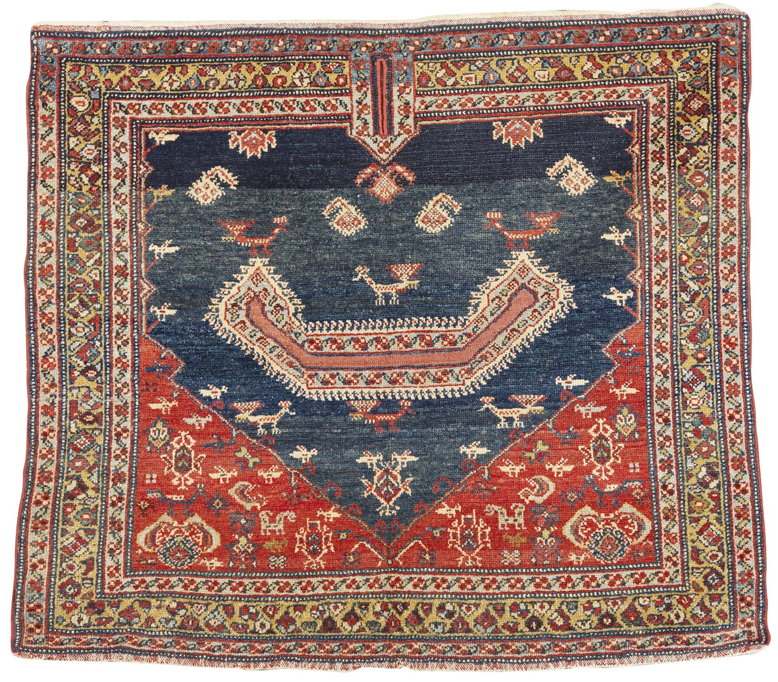 Persian Saddle Rug, ca. 1900; 3 ft. x 3 ft. 6 in.
