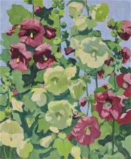JANE PETERSON, (American, 1876-1965), Hollyhocks,