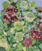 JANE PETERSON, (American, 1876-1965), Hollyhocks,