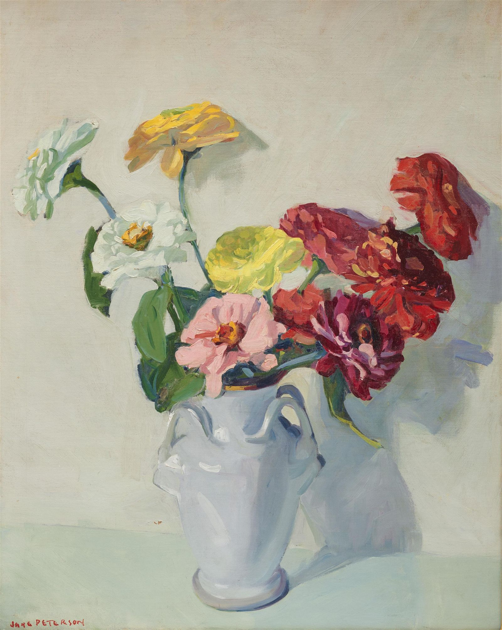 JANE PETERSON, (American, 1876-1965), Zinnias, oil on