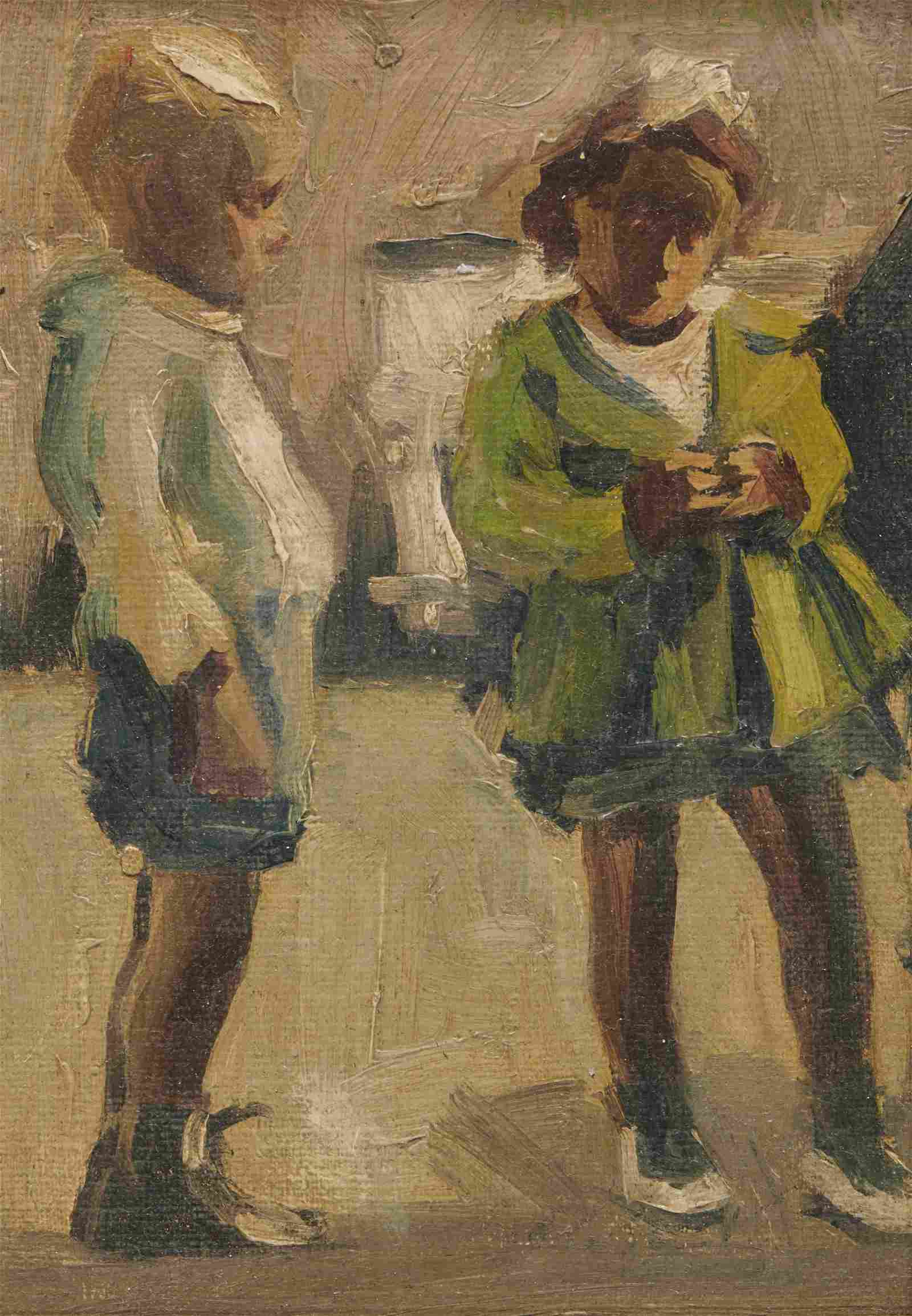 JANE PETERSON, (American, 1876-1965), Two Children, oil