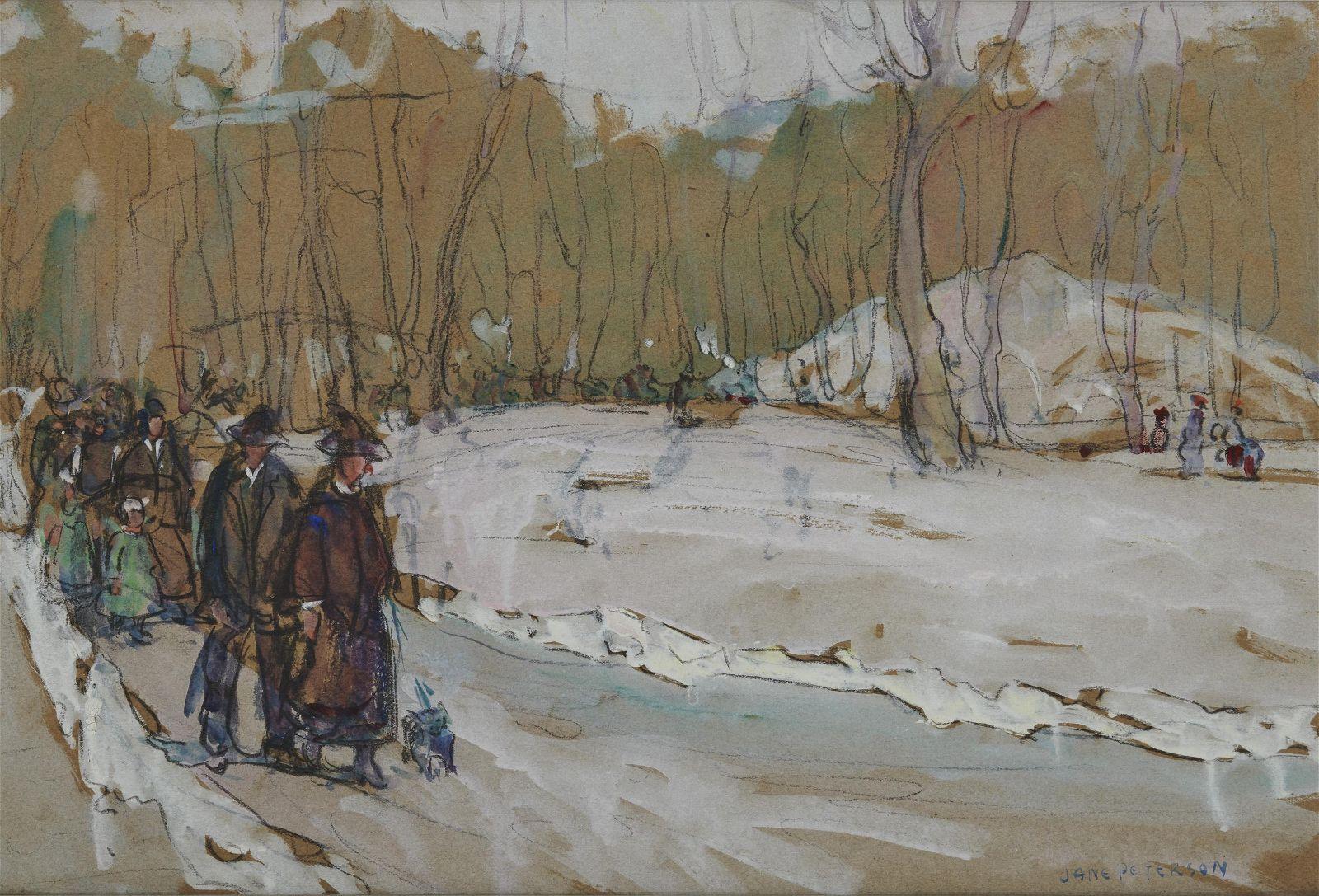 JANE PETERSON, (American, 1876-1965), Winter Stroll,