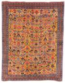 Rare Khamseh Yellow Ground Bird Rug, Persia, ca. 1875;