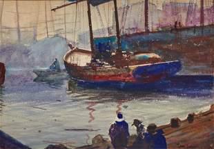 JOHN WHORF, American 1903-1959, Dock View
