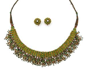 Indian High Karat Gold, Enamel, Emerald, and Diamond