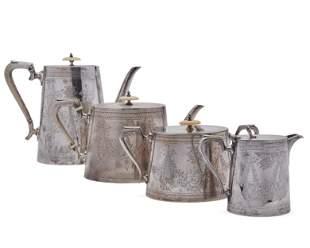 Four Piece English Victorian Tea Set, Sheffield, ca.