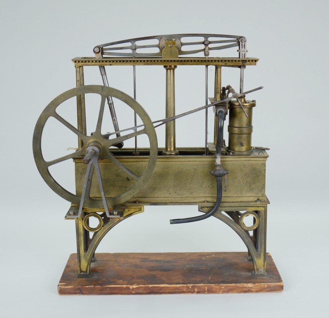 BRASS HYDRAULIC MODEL OF A STEAM ENGINE, circa 1850