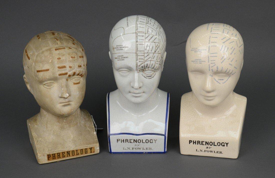 TWO L.N. FOWLER GLAZED CERAMIC PHRENOLOGY HEADS, L. N.