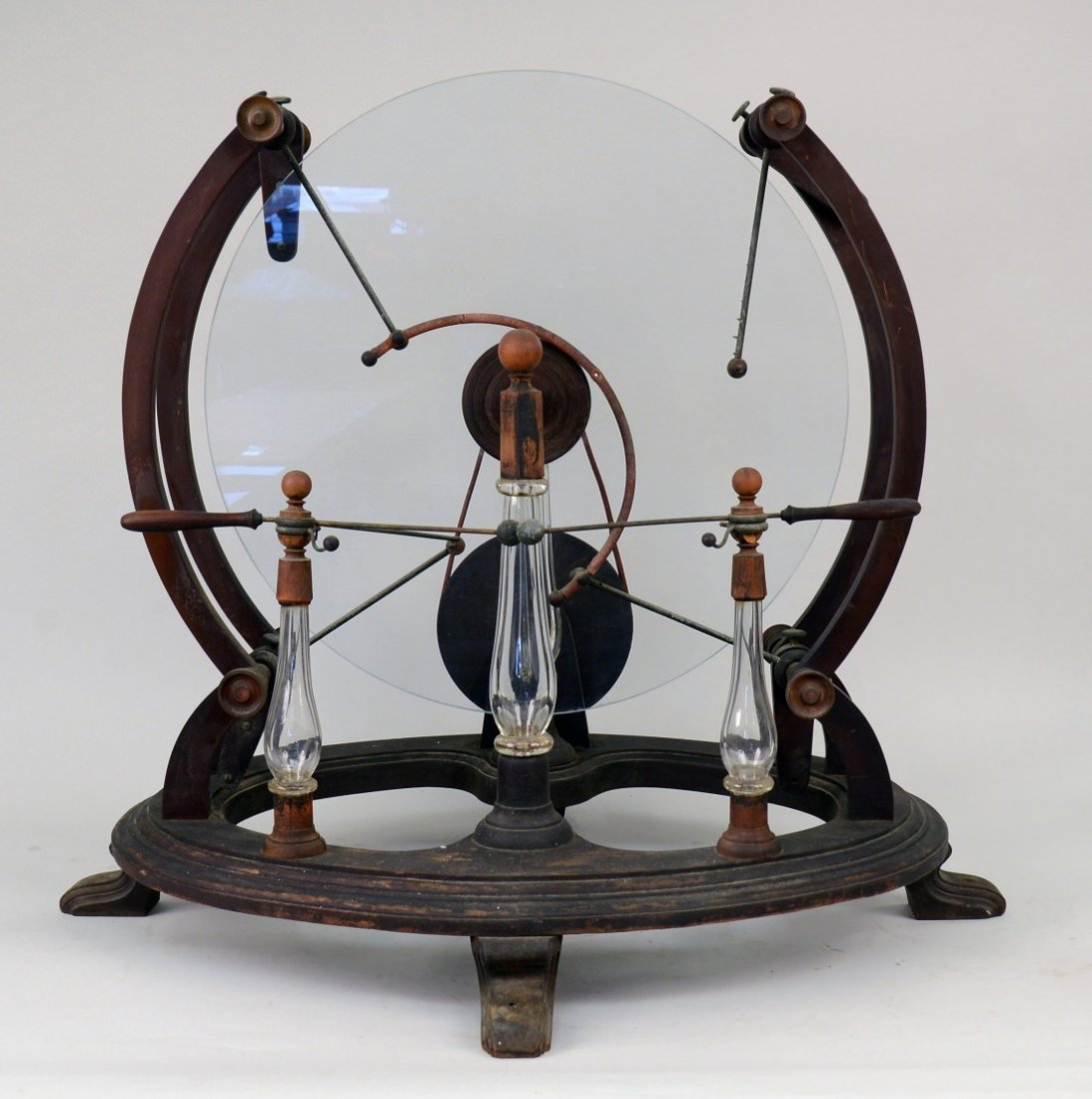 GLASS, WOOD AND BRASS STATIC MACHINE, early 19th centur