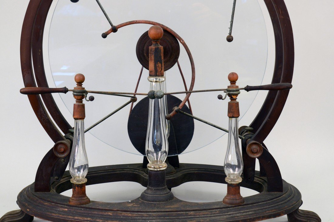 GLASS, WOOD AND BRASS STATIC MACHINE, early 19th centur - 2