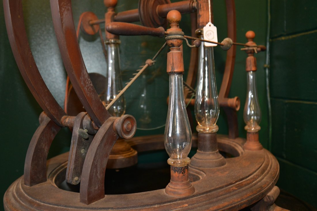 GLASS, WOOD AND BRASS STATIC MACHINE, early 19th centur - 6