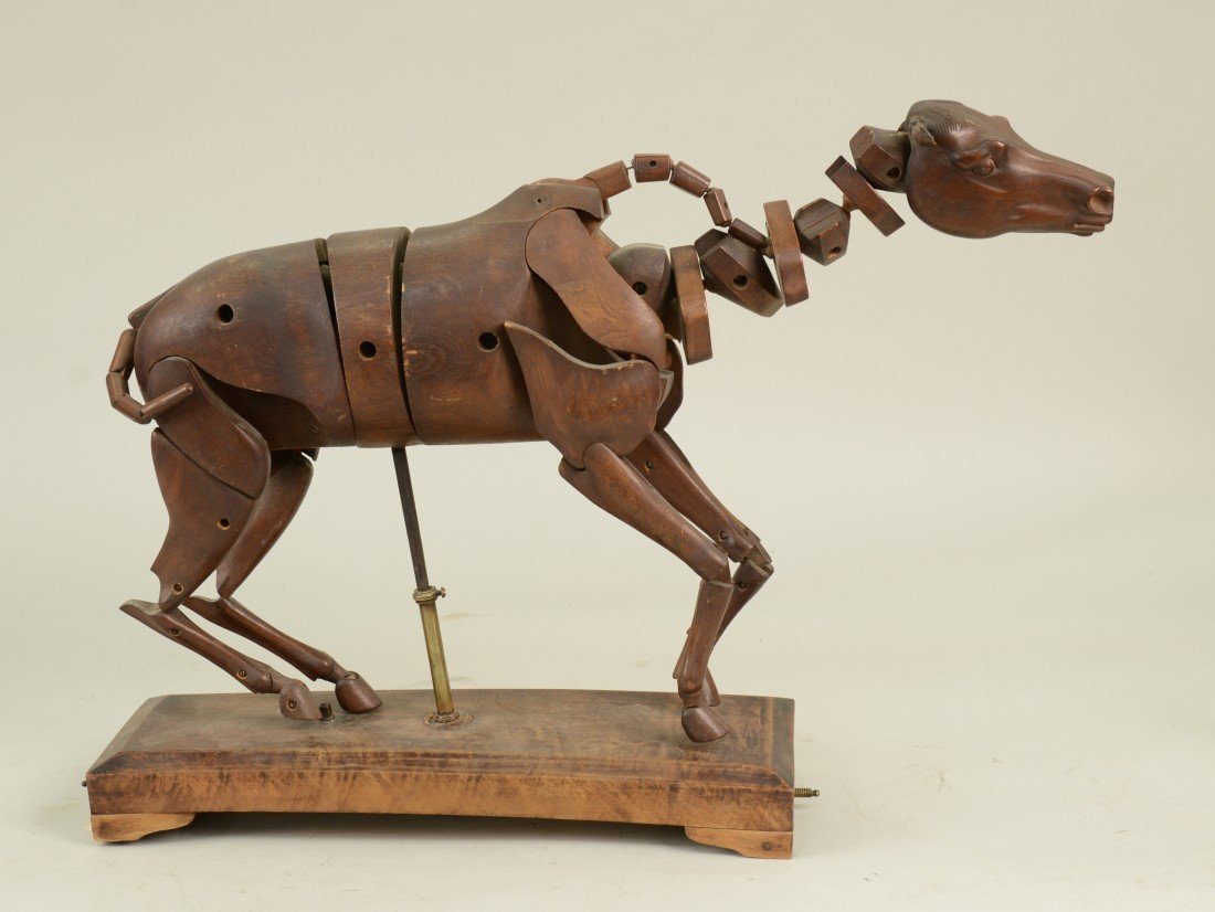 CONTINENTAL WALNUT ARTIST'S ANATOMICAL HORSE MODEL; len