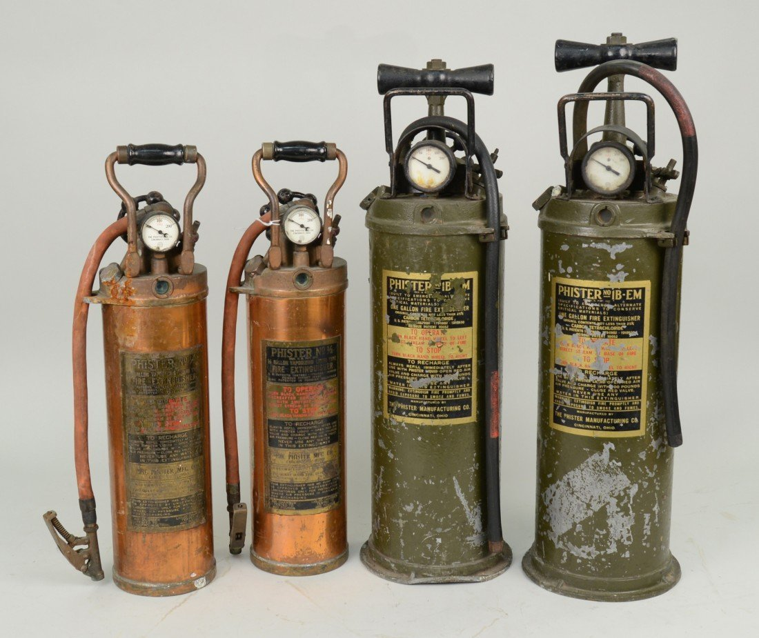TWO PAIR OF FIRE EXTINGUISHERS, Phister Mfg. Co. Cincin