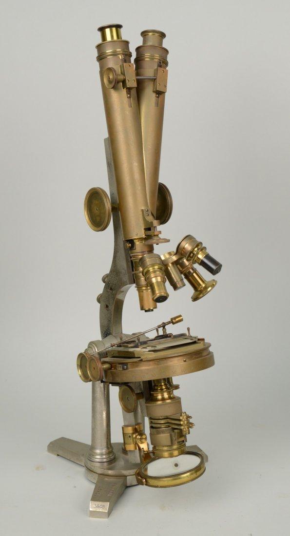 DOUBLE PILLAR BINOCULAR MICROSCOPE; R. & J. Beck
