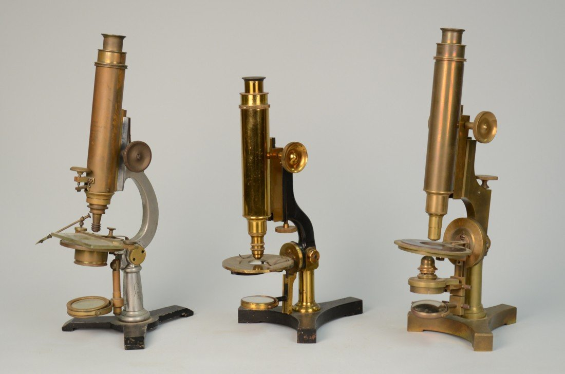THREE AMERICAN MICROSCOPES; all marked James W