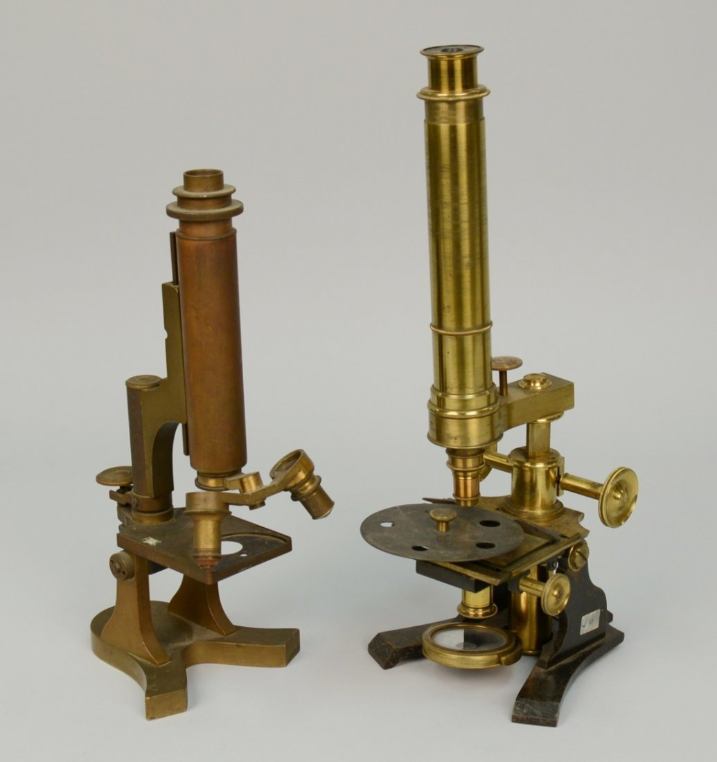 TWO MICROSCOPES; one marked R. Field & Sons, Birmingham