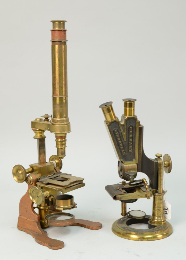 TWO MICROSCOPES; one marked Baker