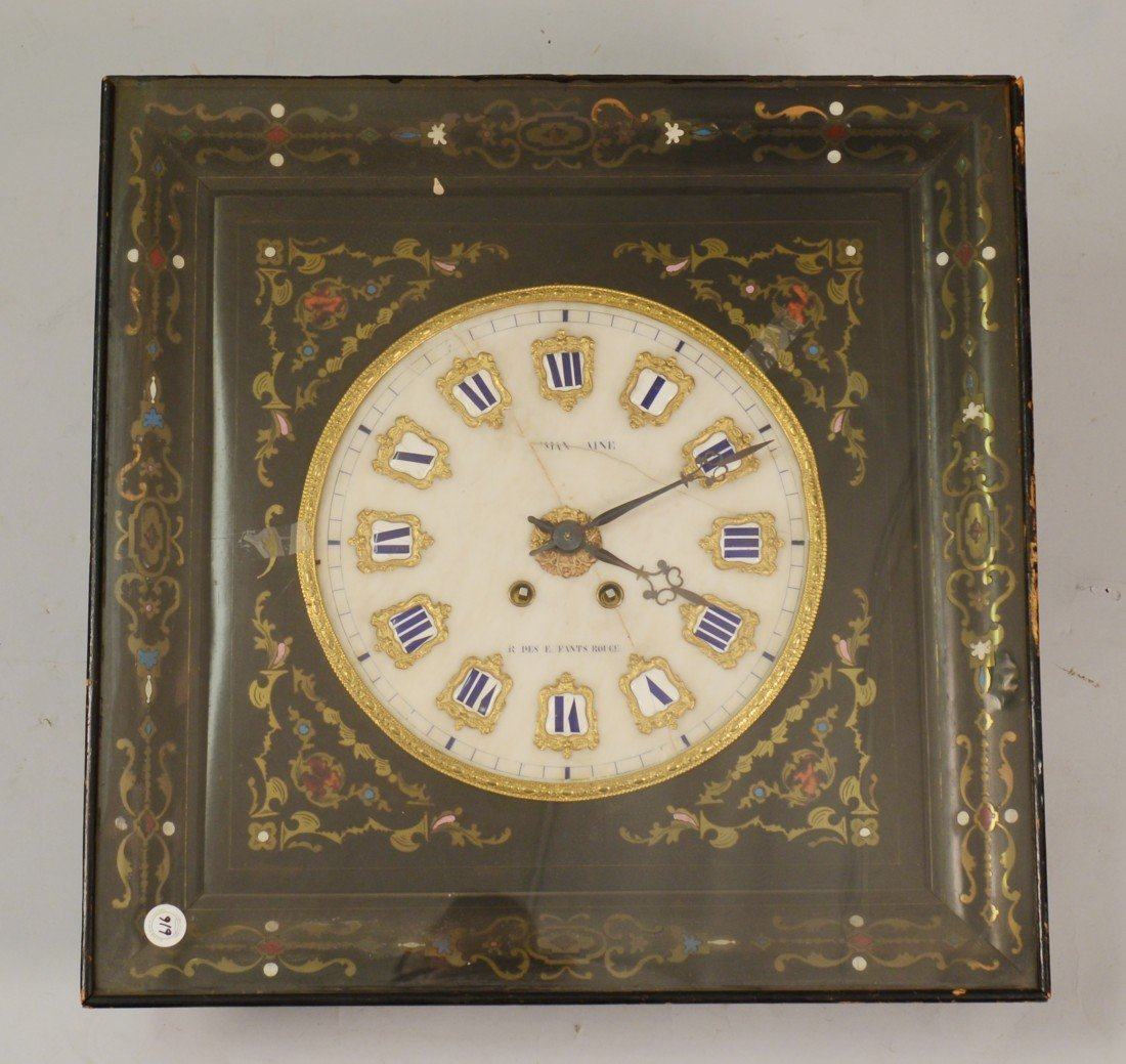 """FRENCH VICTORIAN BOULLE INLAID WALL CLOCK, The """"…Man Ai"""