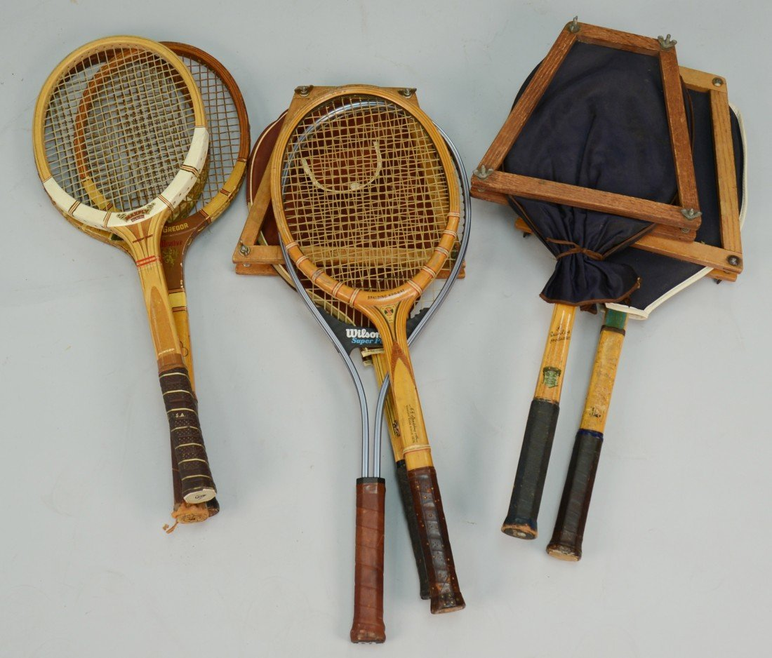 COLLECTION OF OLD TENNIS RACQUETS, including Pancho Gon