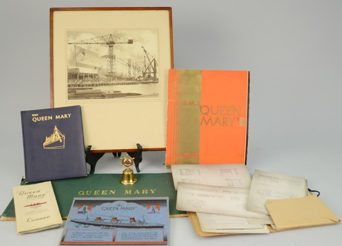 LARGE ASSEMBLAGE OF RMS QUEEN MARY ARCHITECTURAL DRAWIN