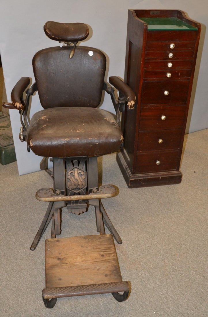 CAST IRON AND LEATHER DENTIST'S CHAIR; together with a