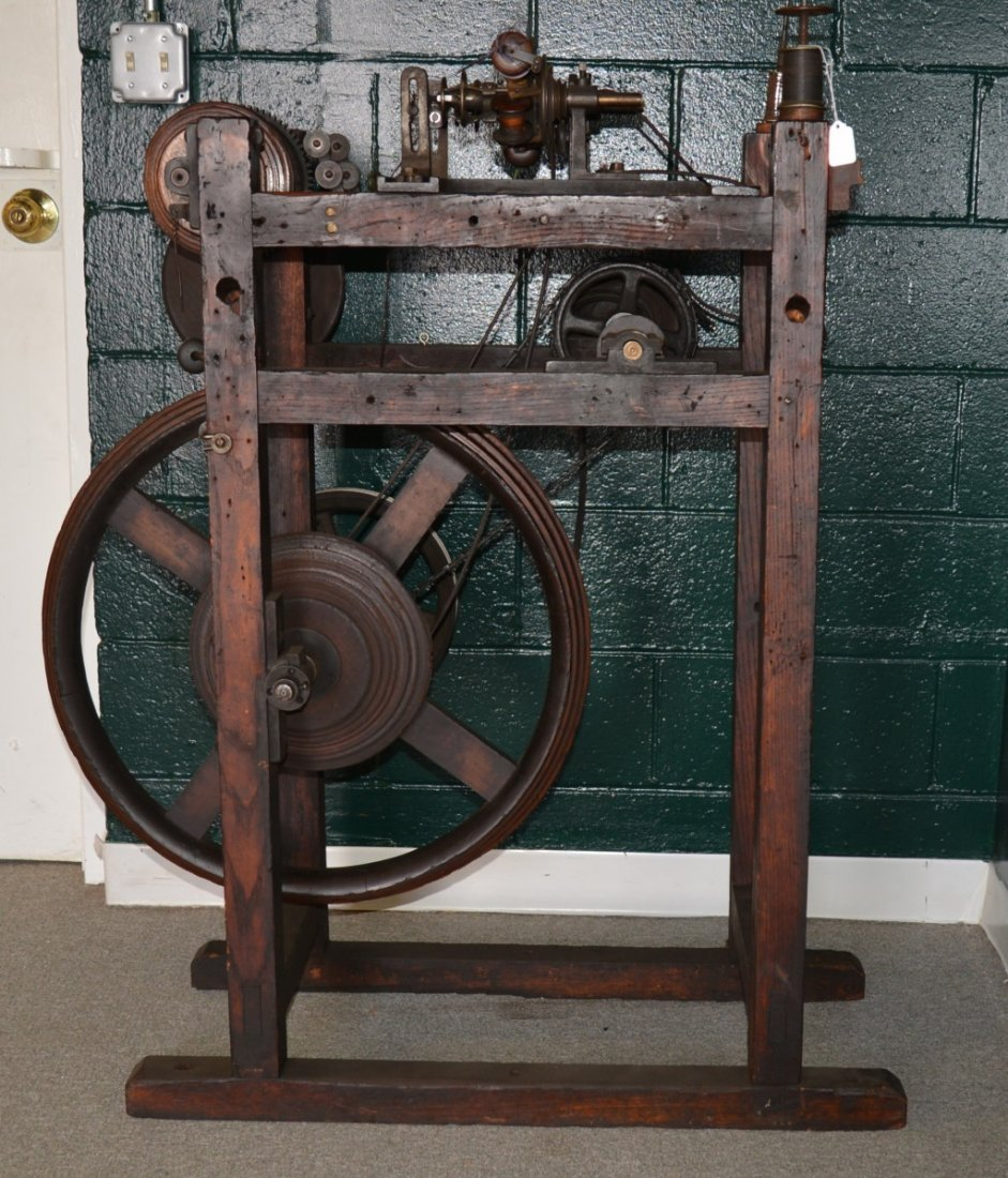 WOODEN THREAD SPINNING MACHINE; height: 44 inches