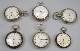COLLECTION OF SIX SILVER POCKET WATCHES; including make