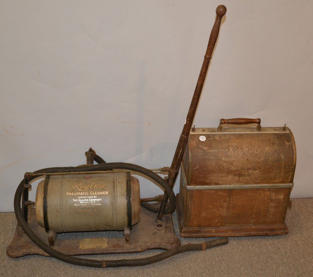 EARLY REGINA MODEL A PNEUMATIC VACUUM CLEANER; together