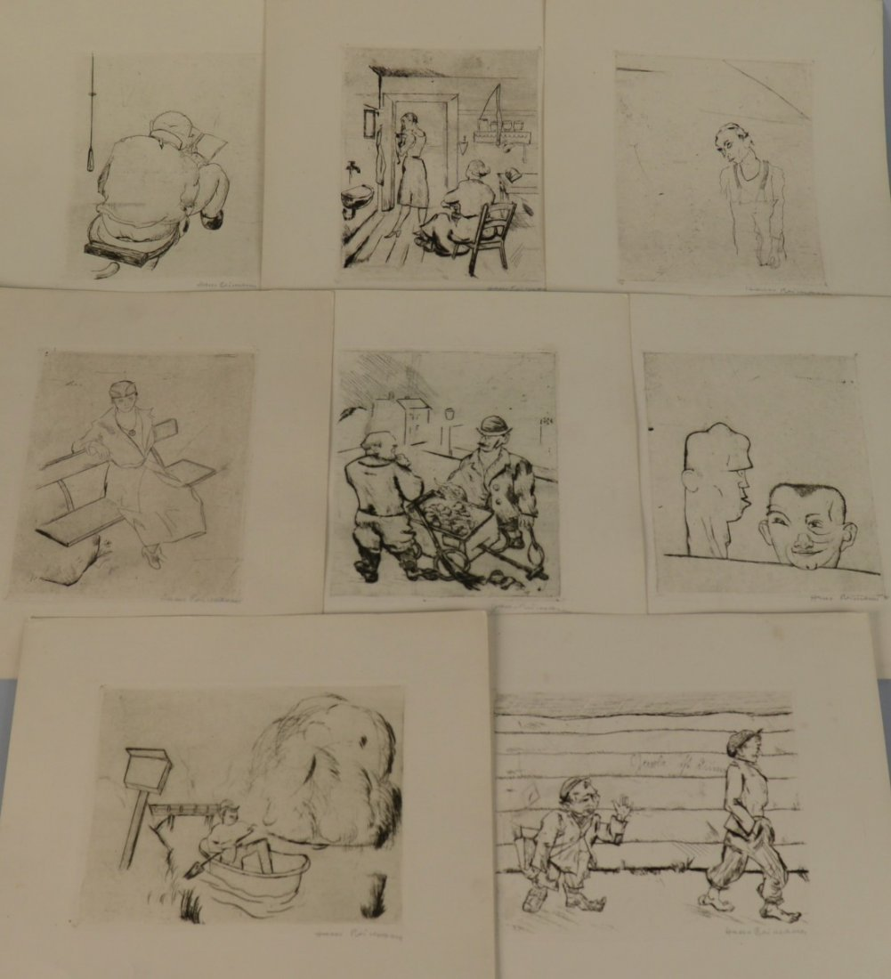 HANS REIMANN, (1889-1699), EIGHT ETCHINGS, signed in pe