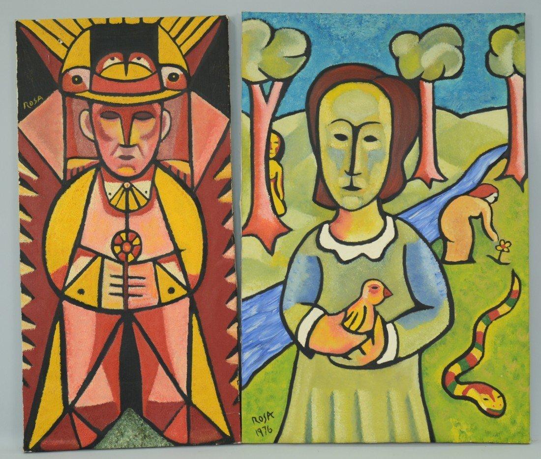JOHN ROSA, (20th century), WOMAN IN PARK and BIRDMAN, t