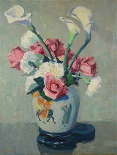 JANE PETERSON, (American, 1876-1965), ROSES AND LILIES
