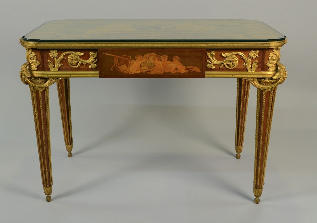 LOUIS XVI MARQUETRY INLAID ORMOLU MOUNTED TABLE DES MUS