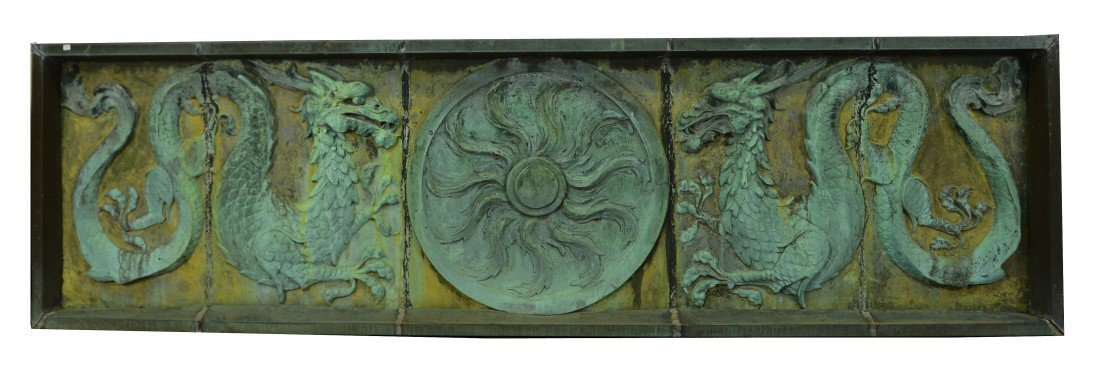 PAIR OF FANCIFUL CHINOISSERIE COPPER RELIEF ARCHITECTUR