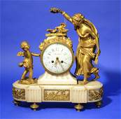 LOUIS XVI STYLE GILT BRONZE AND MARBLE FIGURAL MANTLE C