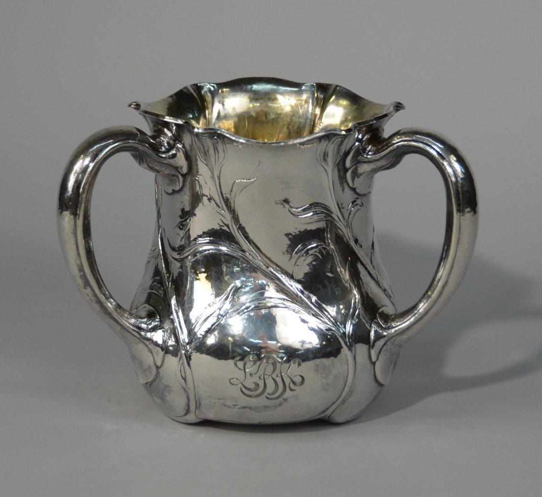 AMERICAN MARTELE SILVER THREE HANDLED LOVING CUP; GORHA