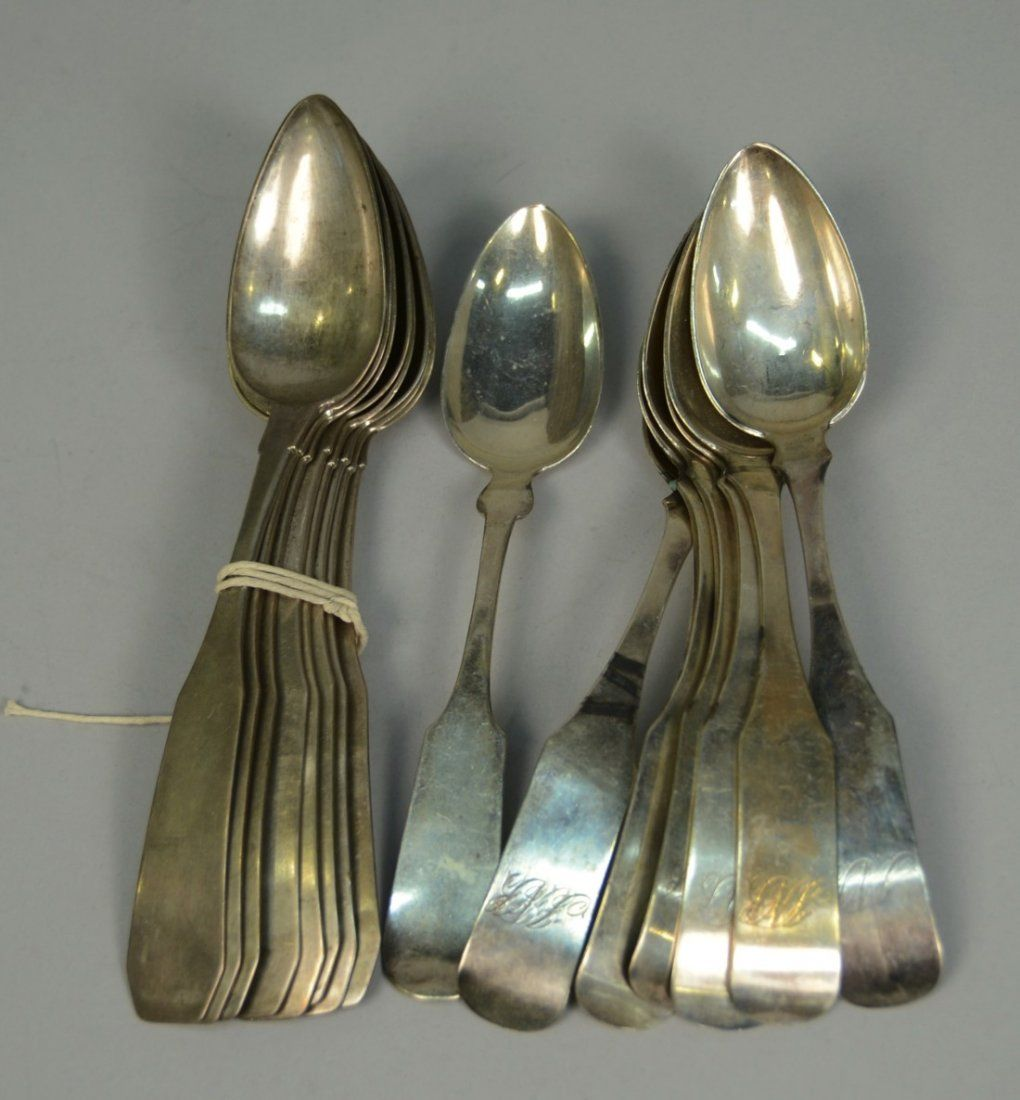 COLLECTION OF AMERICAN COIN SILVER TABLESPOONS, includi