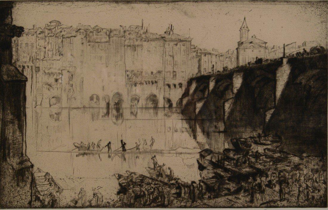 FRANK BRANGWYN, (English, 1867-1956), VENICE, drypoint