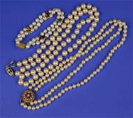 TWO PEARL NECKLACES and a PEARL AND GEMSET BRACELET